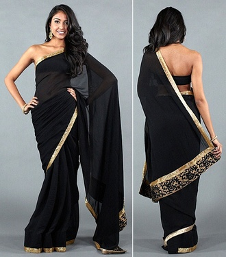 dress black saree gold indian indian dress indian saree