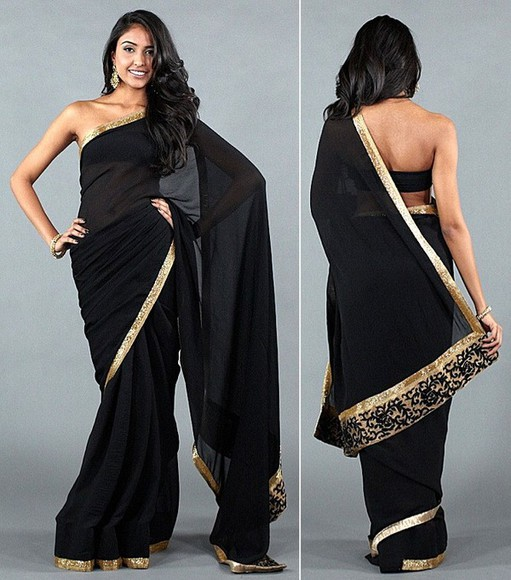 indian indian dress dress black saree gold indian saree