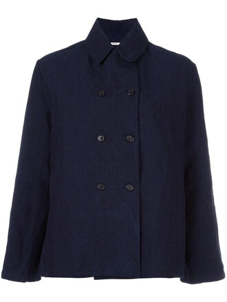 jacket double breasted women cotton blue