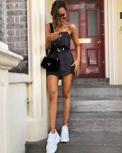 shoes,sneakers,black dress,mini dress,sunglasses,bag,chain necklace,white sneakers,belt,belted dress,mini bag