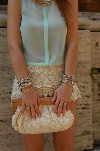 skirt purse bracelets ring necklace crochet shorts