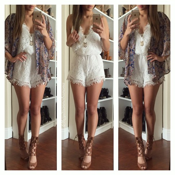 romper white white romper lace white lace romper lace romper white dress lace dress cute dress shoes jumpsuit dentelle white jumpsuit