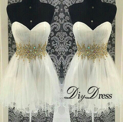 Princess ivory tulle with gold beaded waistband homecoming dresses 2015 short prom dresses apd1310 · diydressonline · online store powered by storenvy