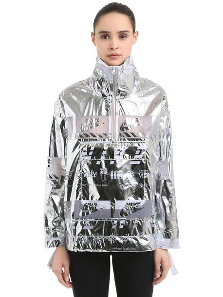 0145da68f NIKE Metallic Nylon Windbreaker Jacket in silver - Wheretoget