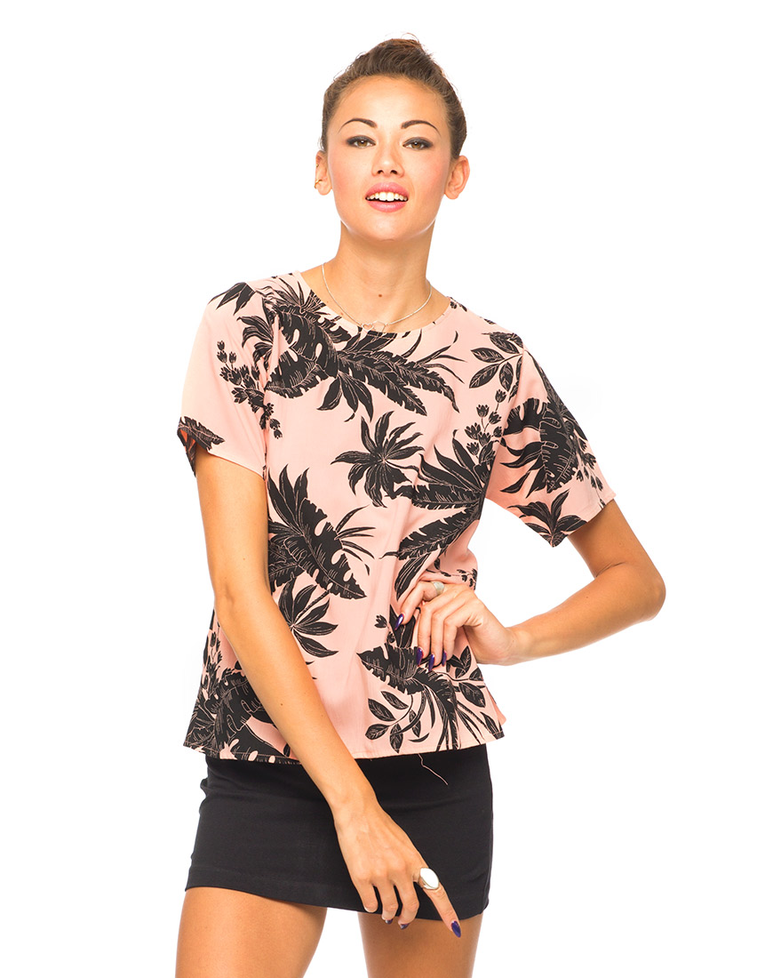 Buy Motel Pacey T Shirt Blouse in Two Tone Floral Peach at Motel Rocks