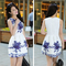 Hot women sleeveless chinese white and blue porcelain floral printed dress
