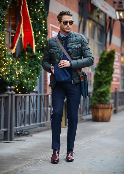 i am galla blogger menswear mens coat down jacket mens shoes oxfords winter outfits jacket sweater shirt pants bag sunglasses shoes mens messenger bag