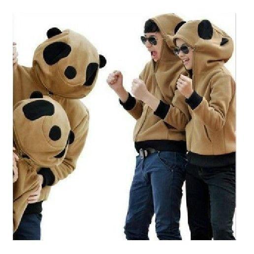 Cute Woman Man Panda Zip Hoody Sweater Winter Autumn Jacket Outwear Brown Gray | eBay