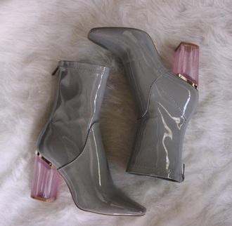 shoes grey heels grey boots patent boots block heels grey shoes