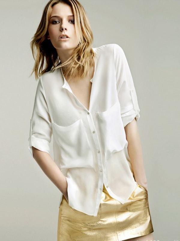 Loose Chiffon/Georgette V Neck Pocket Street Shirts : KissChic.com