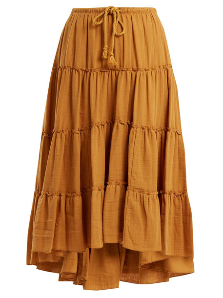 SEE BY CHLOÉ Tiered cotton skirt in yellow