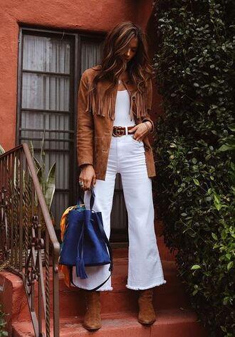 jeans blogger rocky barnes instagram jacket fringes fringed jacket white jeans spring outfits