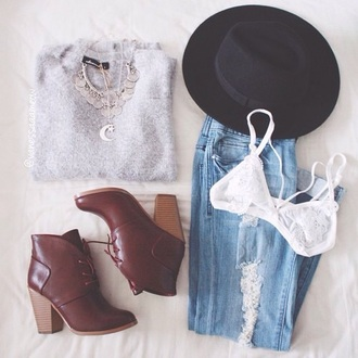 hat jeans jewels shoes sweater underwear