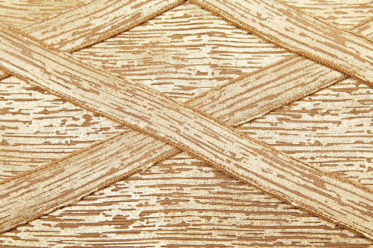 Woodgrain Foil Print Cut Out Grid Bandage Dress Gold