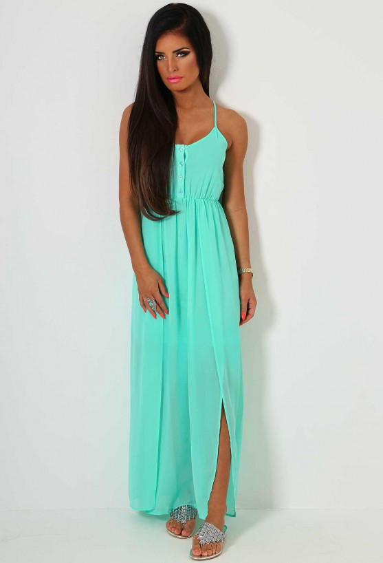 Aqua Green Maxi Dress | Pink Boutique