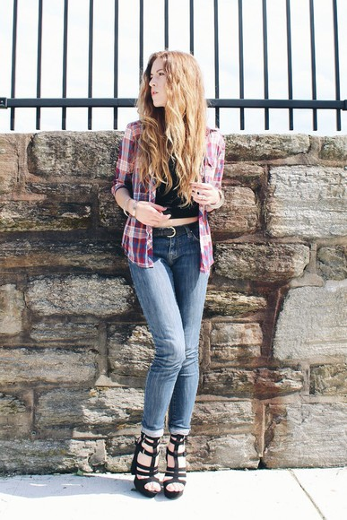 shoes flannel plaid shirt hipster crop tops wolf + lace jeans pink denim strappy sandals high heels boho aeropostale summer outfits festival beach blogger