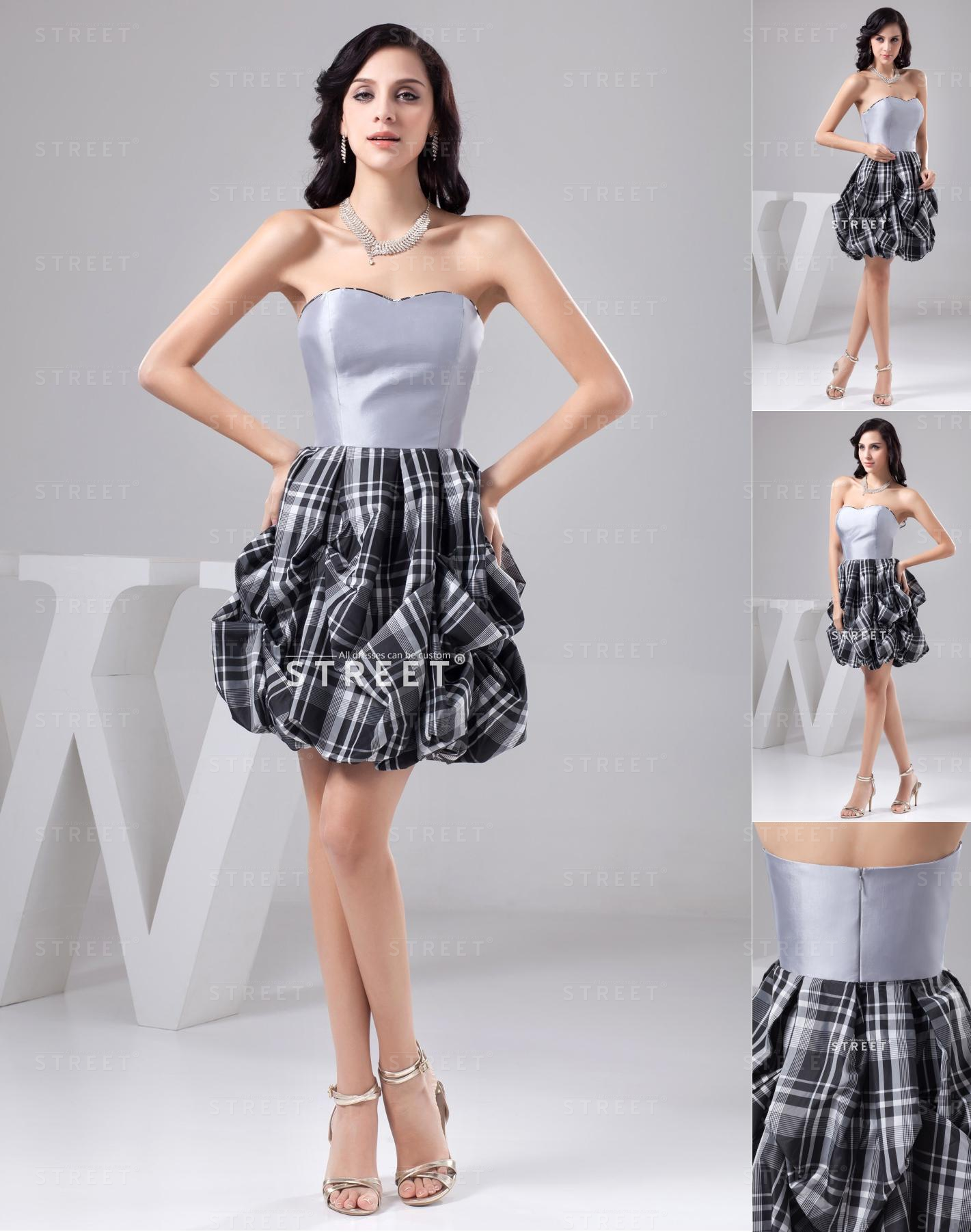 Grey Pick-Up Taffeta Short Popular Awesome Extravagant Sweet 16 Dress
