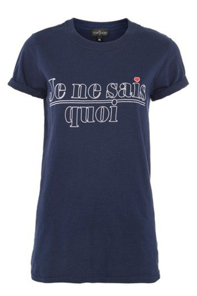 Topshop t-shirt shirt t-shirt navy blue top