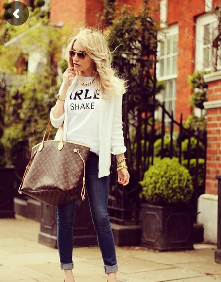 blonde girl shirt jeans t-shirt funny shirt white pull cardigan louis vuitton bag sunglasses jewels jewelry
