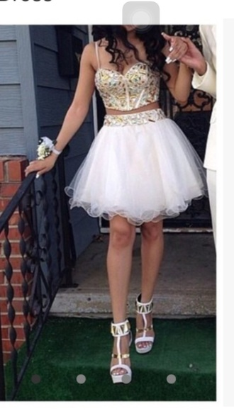 dress white white dress gold gold dress prom prom dress short prom dress homecoming homecoming dress two-piece two piece dress set