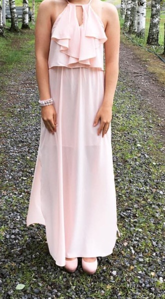 dress prom dress pink dress pastel pink long dress ruffle dress