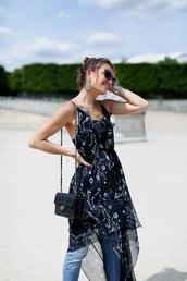 dress,tumblr,midi dress,floral,floral dress,slip dress,ruffle,ruffle dress,denim,jeans,blue jeans,bag,black bag,sunglasses