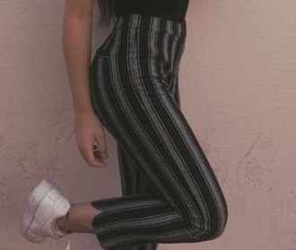 pants black and grey stripped