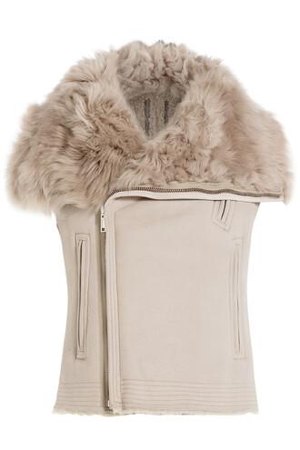 vest leather beige jacket