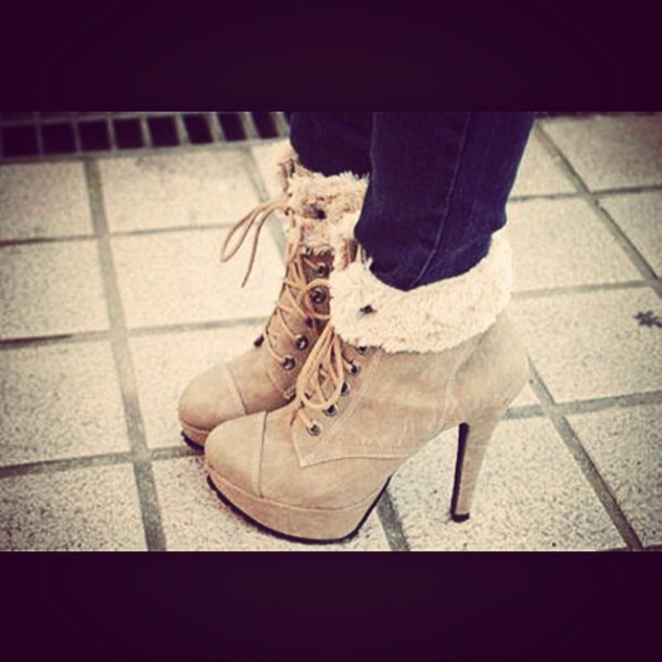 shoes beige fur winter heels