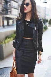 jacket,perfecto,skirt,ribbed sleeves,leather skirt,leather jacket,pencil skirt,leather pencil skirt,black skirt,black leather,all black everything,black shirt,black,black jacket,blackonblack,black jordans,blackskirt,bag,top,classy,leather