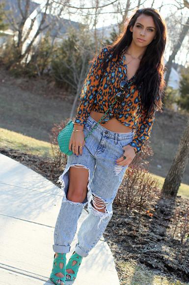 jeans ripped jeans torn jeans top boyfriend jeans blogger blouse leopard print karlie shirt