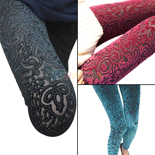 Sexy Womens Slim Velvet Leggings Hollow Floral Pattern Tights Comfy Pants BD2K | eBay