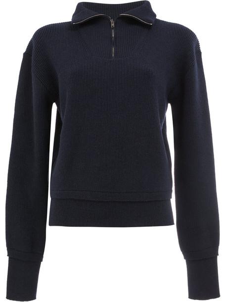 Maison Margiela - zipped knitted top - women - Wool - M, Blue, Wool