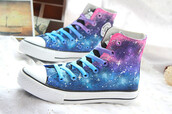 shoes,blue,purple,pink,lace up,cool,casual,galaxy print,stars,trendy,fall outfits,allstars,converse,teenagers
