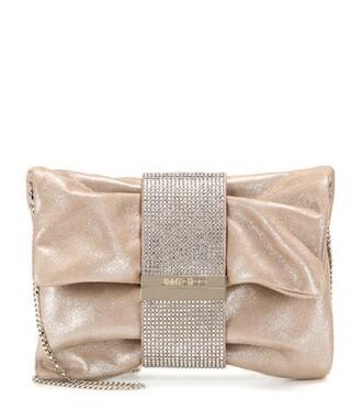 embellished clutch suede metallic bag
