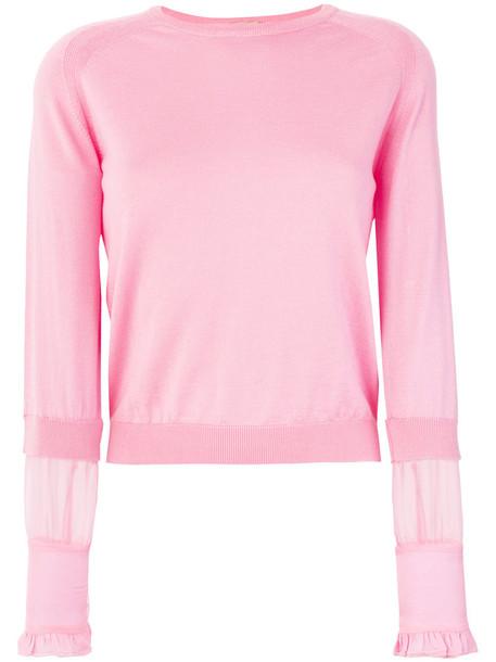 jumper sheer women silk wool purple pink sweater