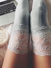 socks,over the knee socks,grey,lace