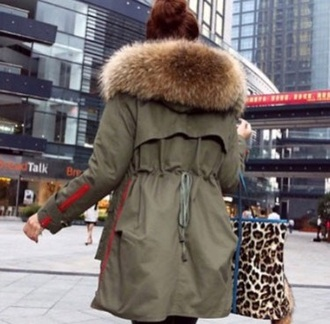 jacket khaki parka army green winter coat fur girl where to get any of this? whereeee