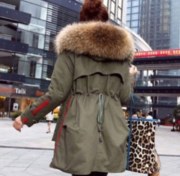 jacket khaki parka army green winter coat fur girl. Black Bedroom Furniture Sets. Home Design Ideas
