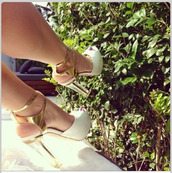 shoes,gold heels,white heels,heels,high heels,gold,white