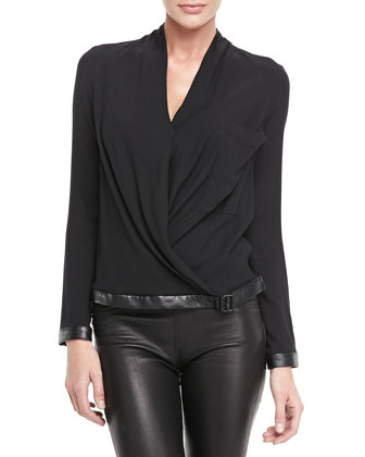 Helmut Lang Morse Leather-Hem Top - Neiman Marcus