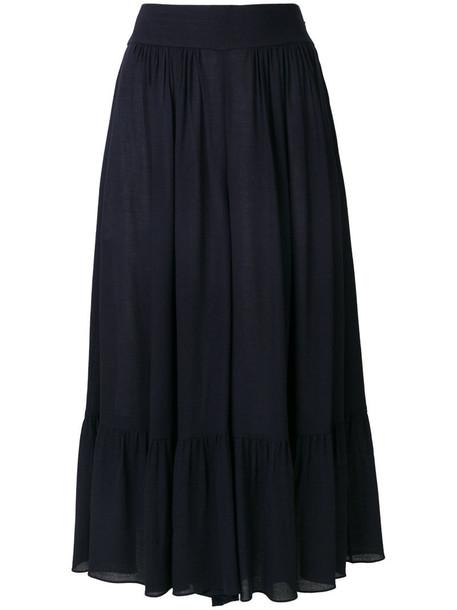 Chloe culottes high women blue silk wool pants