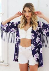 top,purple robe,purple cape,floral robe,floral cape,purple floral print,tassel,www.ustrendy.com,kimono