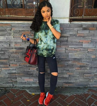 india westbrooks bag sunglasses red sneakers tie dye shirt