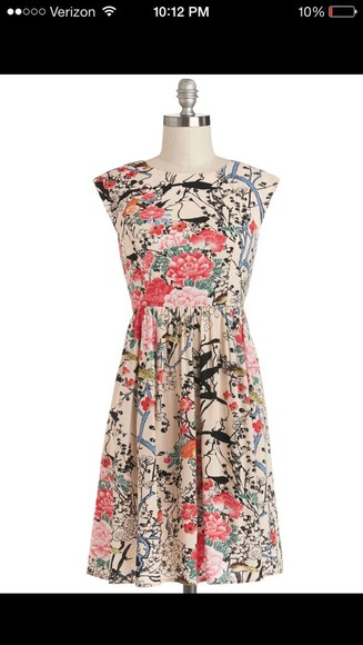 dress colorful flowers floral garden long