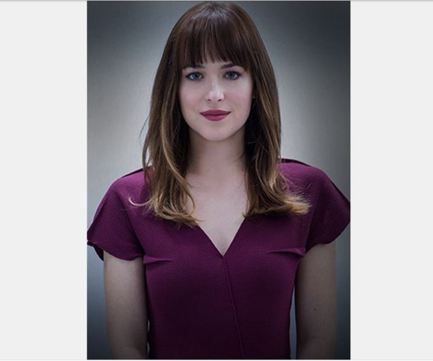 dress plum purple dress dakota johnson fifty shades of grey