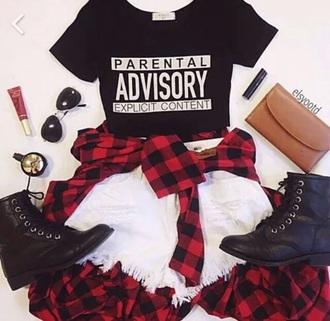 shirt style alternative fashion clothes plaid shirt parental advisory explicit content combat boots