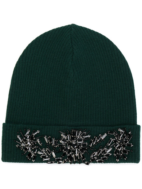 beaded hat beanie green