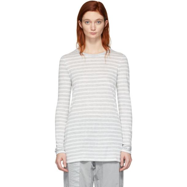 alexanderwang.t Grey & White Striped Slub Long Sleeve T-Shirt