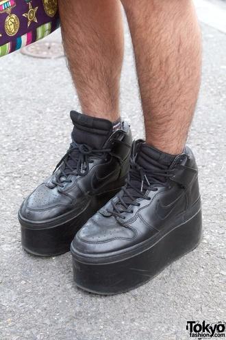 shoes nike platform shoes platform sneakers black buffalo flatform jacket